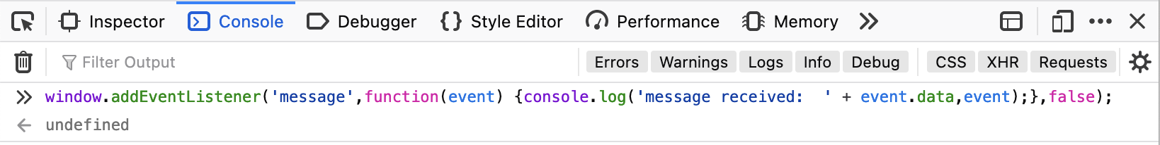 Web develop tools console with event listener code