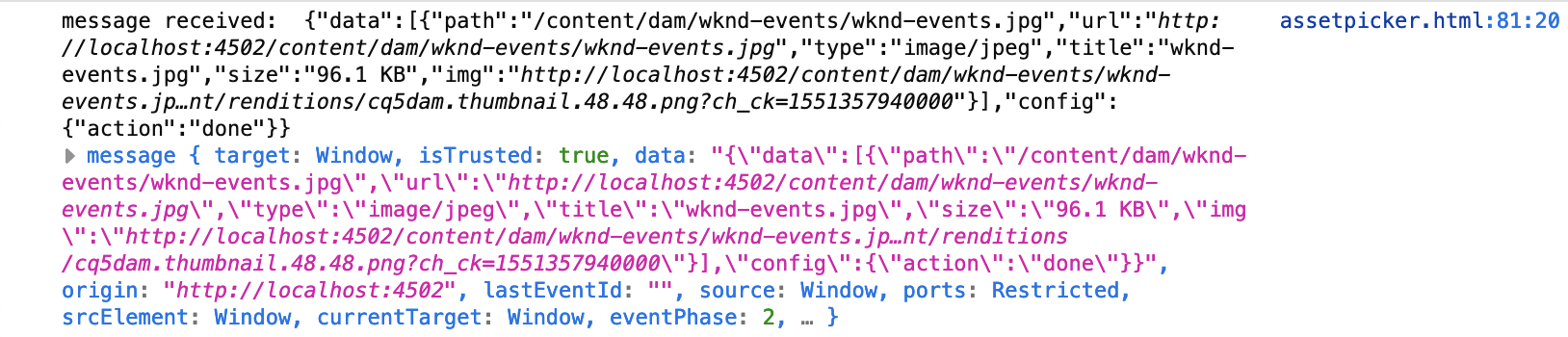 Web developer console with received event data from Asset Selector