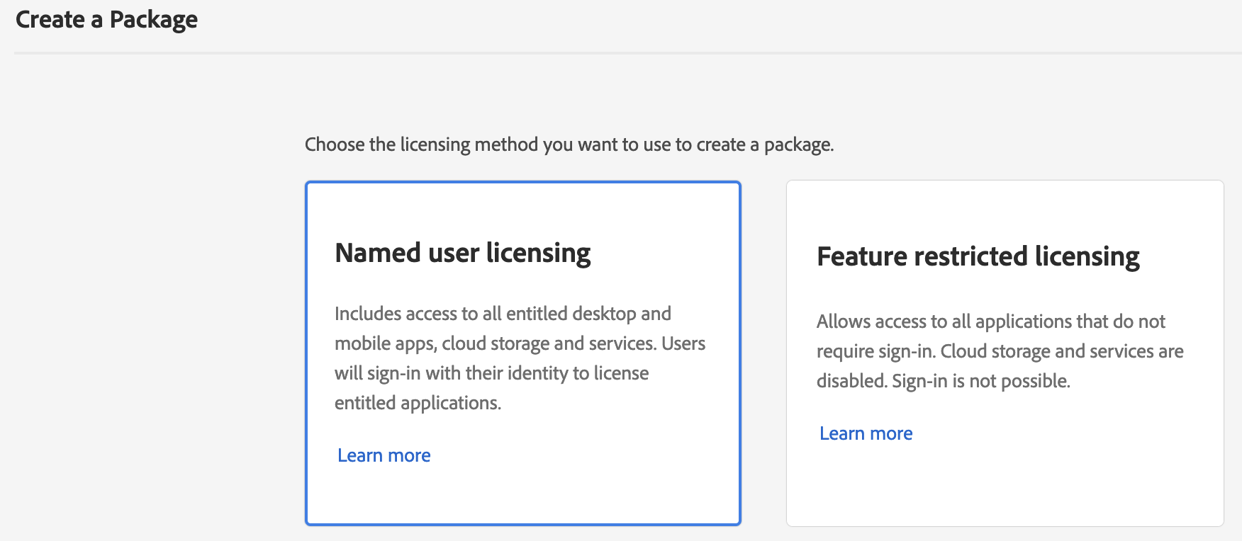 Adobe Admin Console - Create a Package - Licensing method