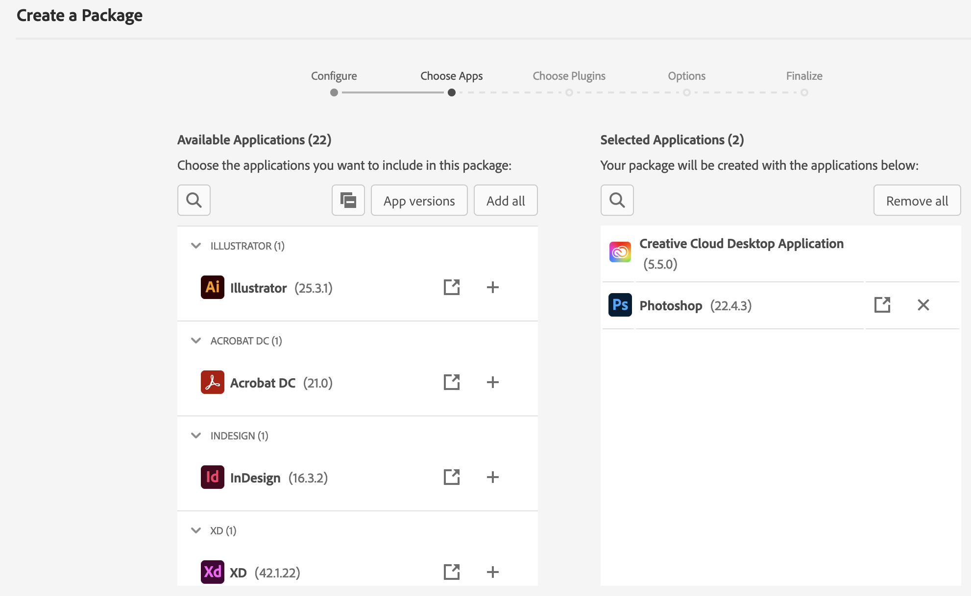 Adobe Admin Console - Create a Package - Package app selection