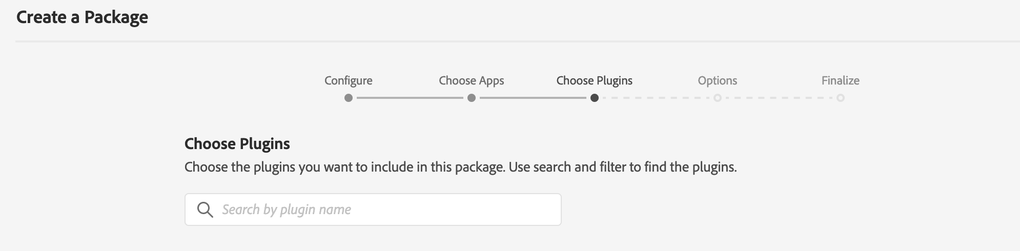 Adobe Admin Console - Create a Package - Package plugin selection