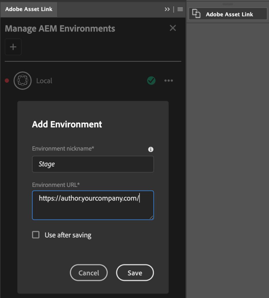 Asset Link extension - add environment dialog